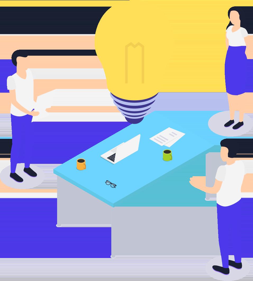 illustration avec des professionnels autour d'une table